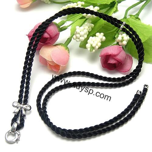 韩国丝蝴蝶结k金款吊坠挂绳(黑色),规格:3mm,项链绳,玉佩挂绳,项链