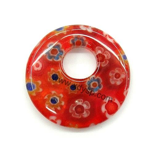 千花琉璃圆饼形吊坠,规格:20mm,孔径:6mm,琉璃饰品(花纹颜色随机)