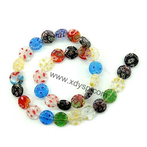 时尚手工琉璃珠子,规格:14mm,扁圆珠,单花琉璃首饰