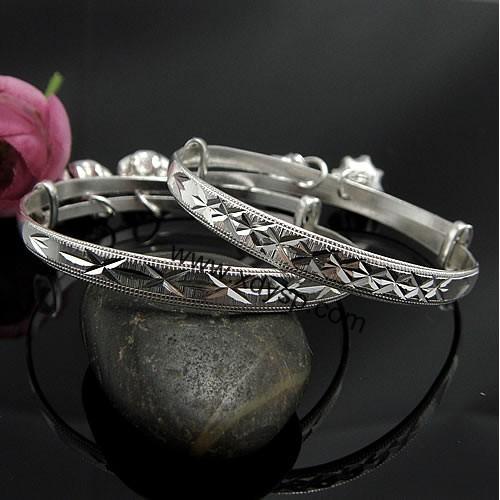 纯银车花小孩手镯(花纹随机),规格:6mm,纯银工艺品,宝宝儿童纯银手镯