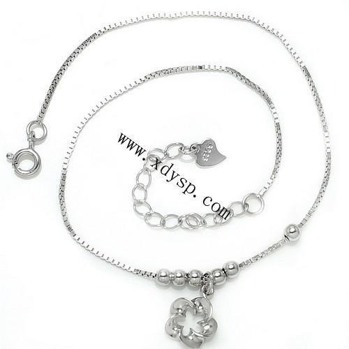 925银扭梅花串珠脚链,尺寸:10.5寸,镀白金脚链,时尚韩版脚链,银脚链