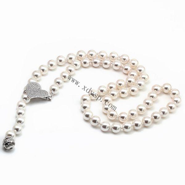 925银多功能韩版心形项链,多尺寸,项链 贝珠款,925银扣贝珠项链,银贝