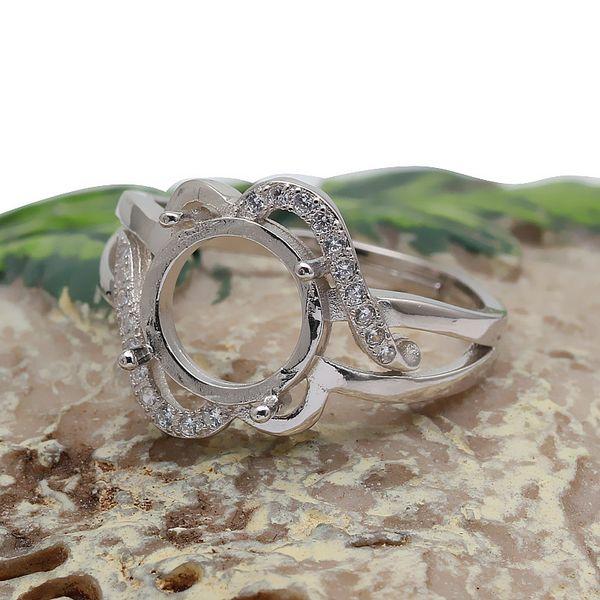 925银圆形波浪纹戒指托