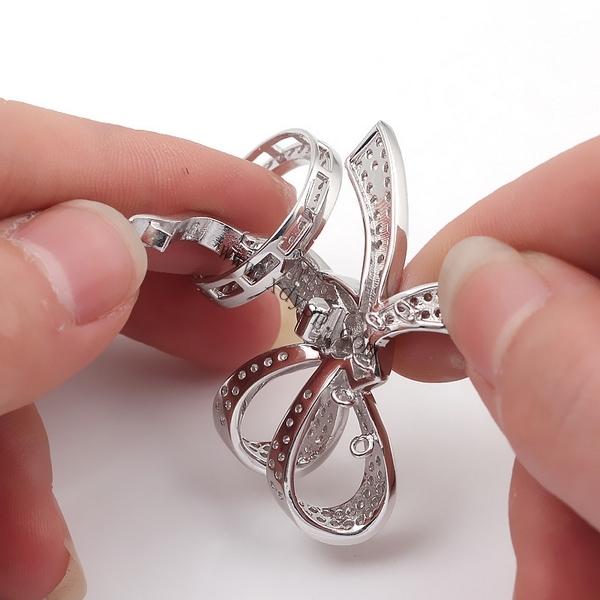 925银蝴蝶同心结多功能扣,规格:37x44.5mm,珍珠项链扣